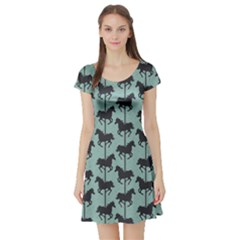 Green Carousel Horses Silhouettes Short Sleeve Skater Dress by CoolDesigns