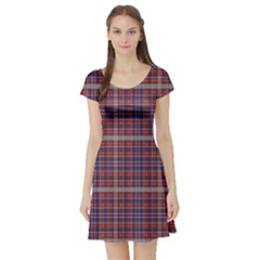 Purple Red And Blue Cell Short Sleeve Skater Dress by CoolDesigns