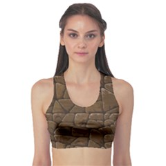 Brown Of Brown Stone Pattern Women s Sport Bra by CoolDesigns