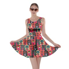 Red Cats With Hearts In Hands Pattern Stylish Design Skater Dress