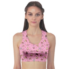 Pink Fancy Cakes Repeat Pattern Women s Sport Bra by CoolDesigns