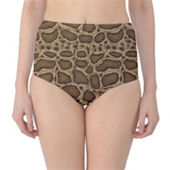 Brown Python Snakeskin Pattern Repeats Seamlessly High Waist Bikini Bottom by CoolDesigns