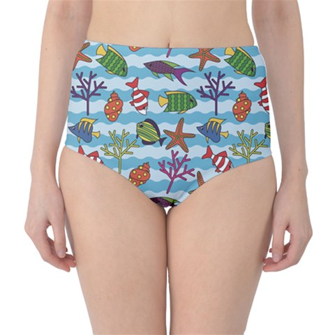 Blue Pattern With Colorful Fish And Coral On Wavy High Waist Bikini Bottom