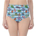 Blue Pattern With Colorful Fish And Coral On Wavy High Waist Bikini Bottom View1