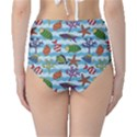 Blue Pattern With Colorful Fish And Coral On Wavy High Waist Bikini Bottom View2