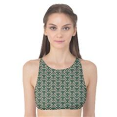 Gray Floral Pattern Fan Motif On Green Tank Bikini Top by CoolDesigns