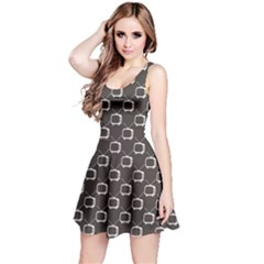 Black Retro Tv Web Flat Design Gray Pattern Sleeveless Skater Dress