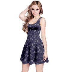 Black Beautiful Night Floral With Flowers And Leaves Sleeveless Skater Dress