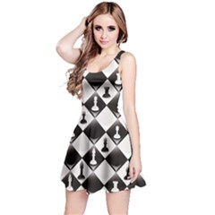 Black A Seamlessly Repeatable Glossy Chessboard With Chess Sleeveless Skater Dress