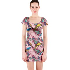 Colorful Pattern With Macaws Sitting On Branches Hand Drawn Short Sleeve Bodycon by CoolDesigns