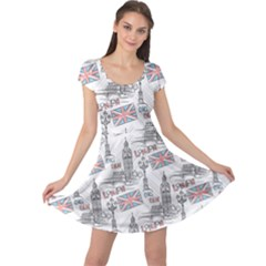 Gray With London S Big Ben Stylish Design Cap Sleeve Dress by CoolDesigns