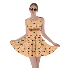 Brown Pattern With Black Cats And Hearts Skater Dress by CoolDesigns
