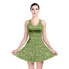 Green Colour Pattern With A Fishes Reversible Skater Dress by CoolDesigns