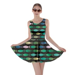 Green Fish Pattern Triangle Abstract Geometric Shapes Sign Skater Dress by CoolDesigns