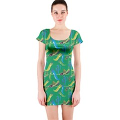 Green Mexican Pattern Cactus Hat Colors Chilli Mexico Ribbon Short Sleeve Bodycon by CoolDesigns