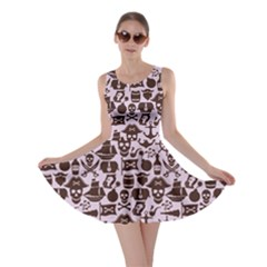 Purple Pattern On Pirate Theme With Objects And Elements Skater Dress