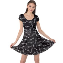 Black Skeleton Fish Cap Sleeve Dress by CoolDesigns