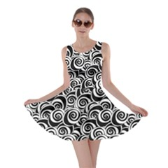 Black Flower Pattern With Black And White Roses Flowers Skater Dress by CoolDesigns