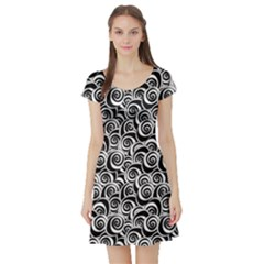 Black Flower Pattern With Black And White Roses Flowers Short Sleeve Skater Dress by CoolDesigns