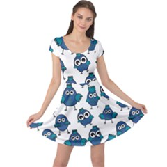 Blue Chicken Pattern Stylish Design Cap Sleeve Dress by CoolDesigns