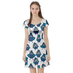 Blue Chicken Pattern Stylish Design Short Sleeve Skater Dress by CoolDesigns