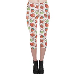 Colorful Funny Pink Pattern With Hand Drawn Elements Capri Leggings by CoolDesigns