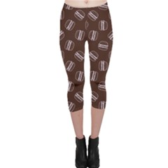 Black Doodle Hamburger Pattern Capri Leggings by CoolDesigns