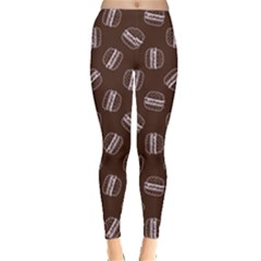 Black Doodle Hamburger Pattern Leggings by CoolDesigns