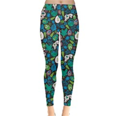 Blue Easter With Monsters Pattern Leggings by CoolDesigns