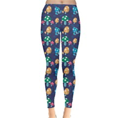 Blue Mushroom Plant Stylish Pattern Leggings by CoolDesigns