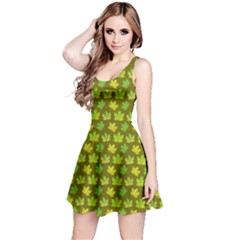 Green Maple Leaves Pattern Short Sleeve Skater Dress by CoolDesigns