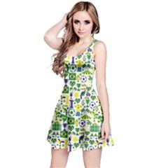 Green Brazil Pattern Stylish Design Short Sleeve Skater Dress