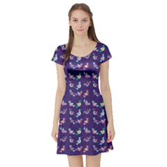 Purple With Color Pattern Birds Short Sleeve Skater Dress by CoolDesigns