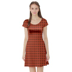 Red Black Pattern Geometric On Red Short Sleeve Skater Dress by CoolDesigns