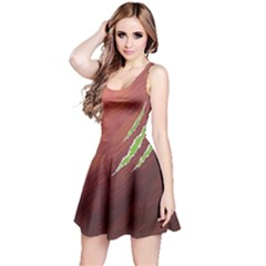 Brown Stylish Scratches Slug Design Sleeveless Dress by CoolDesigns