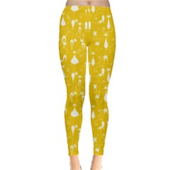 Yellow Cute White Cats Pattern Leggings by CoolDesigns