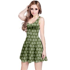 Green Vintage Bicycles Outline Pattern Sleeveless Dress