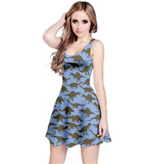 Blue Coffee Dinosaur Sleeveless Dress by CoolDesigns