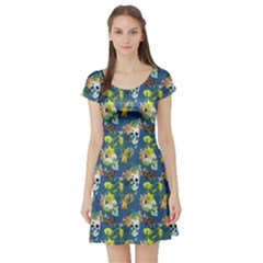 Navy Vintage Floral Short Sleeve Dress