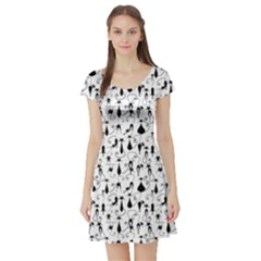 Black Cat 2 Short Sleeve Skater Dress by CoolDesigns