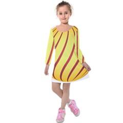 Yellow Striped Easter Egg Gold Kids  Long Sleeve Velvet Dress by Alisyart