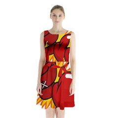 Boxing Gloves Red Orange Sport Sleeveless Chiffon Waist Tie Dress by Alisyart