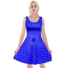 Blue Perspective Grid Distorted Line Plaid Reversible Velvet Sleeveless Dress by Alisyart