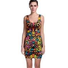 Chisel Carving Leaf Flower Color Rainbow Sleeveless Bodycon Dress