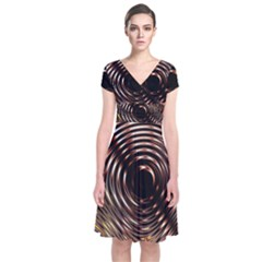 Gold Waves Circles Water Wave Circle Rings Short Sleeve Front Wrap Dress by Alisyart