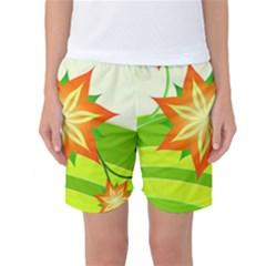 Graphics Summer Flower Floral Sunflower Star Orange Green Yellow Women s Basketball Shorts
