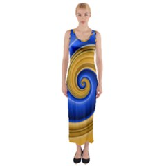 Golden Spiral Gold Blue Wave Fitted Maxi Dress by Alisyart