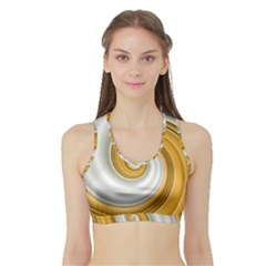 Golden Spiral Gold White Wave Sports Bra With Border by Alisyart