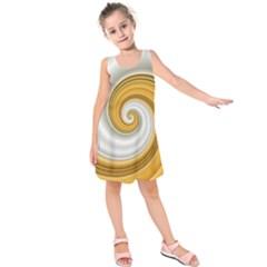 Golden Spiral Gold White Wave Kids  Sleeveless Dress