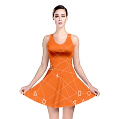 Leadership Deep Dive Orange Line Circle Plaid Triangle Reversible Skater Dress by Alisyart